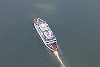 Aerial view of the Cape May lewes Ferry sailing in the Delaware Bay
