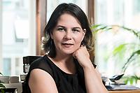 02 JUL 2019, BERLIN/GERMANY:<br /> Annalena Baerbock, MdB, B90/Gruene, Parteivorsitzende, waehrend einem Interview, in ihrem Buero, Jakob-Kaiser-Haus, Deutscher Bundestag<br /> IMAGE: 20190702-01-034