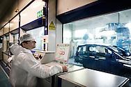 Pomigliano d'Arco, Italia - 10 maggio 2012. Antonio Dealteriis, operaio (conduttore) presso lo stabilimento Giovanbattista Vico di Pomigliano D'Arco, al lavoro nella sezione verniciatura della fabbrica nella quale si produce la nuova Panda..Ph. Roberto Salomone Ag. Controluce.ITALY - Antonio Dealteriis, FIAT worker at Giovanbattista Vico plant in Pomigliano D'Arco at work in the painting department of the factory in which the new Panda car is produced on May 10, 2012.