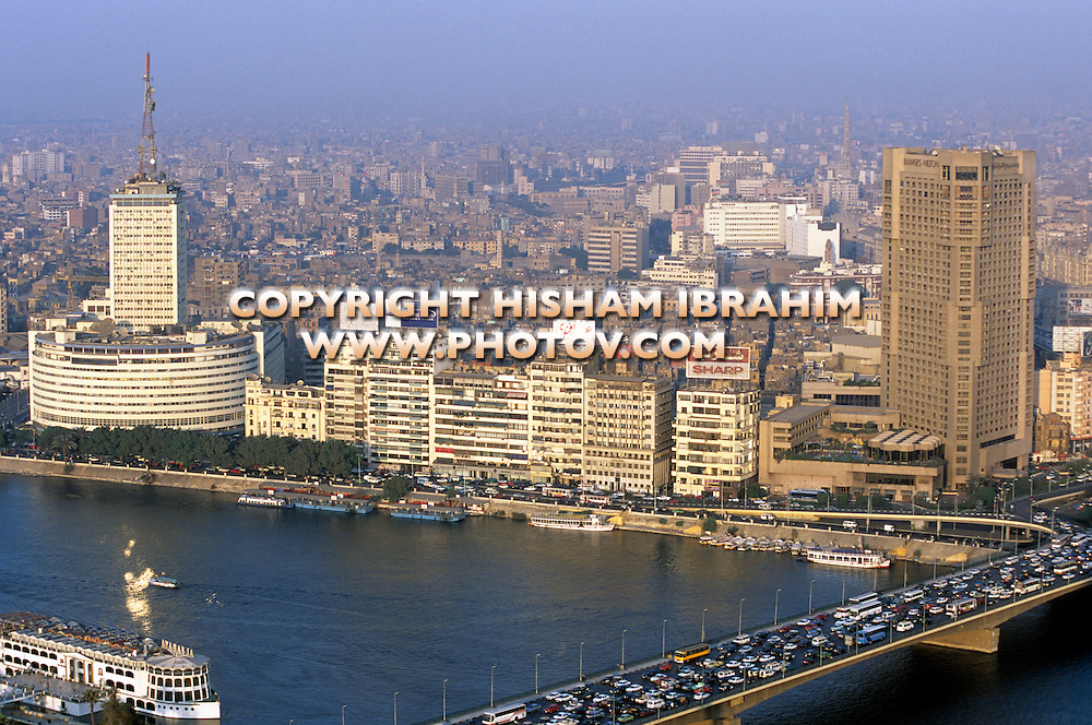 Aerial view of Downtown Cairo and the Nile River, Cairo, Egypt