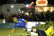 GOAL Calvin Andrew scores 0-1 during the The FA Cup match between Slough Town and Rochdale at Arbour Park, Slough, United Kingdom on 4 December 2017. Photo by Daniel Youngs.