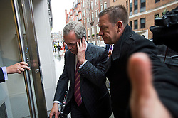 © Licensed to London News Pictures. 14/05/2015.  NIGEL FARAGE arriving at the UKIP party headquarters i Mayfair, London. Farage has been critiqued by members of the UKIP party after a u-turn on his decision to stand down as leader. Photo credit: Ben Cawthra/LNP