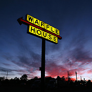 Forsyth, Ga. Waffle House restaurant at sunset Saturday January 19, 2013. Available in raw file.  Jose More Photography