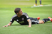 Brentford  midfielder Sam Saunders (7)  looks back after missing the target during the EFL Sky Bet Championship match between Rotherham United and Brentford at the New York Stadium, Rotherham, England on 20 August 2016. Photo by Simon Davies.