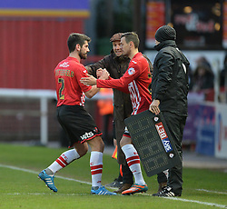 Exeter City's Alex Nicholls replaces Exeter City's Danny Butterfield - Photo mandatory by-line: Alex James/JMP - Mobile: 07966 386802 - 10/01/2015 - SPORT - football - Exeter - St James Park - Exeter City v Northampton - Sky Bet League Two