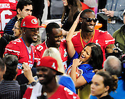 1/29/13 New Orleans LA.-Entertainment tonight anchor women Rocsi Diaz, is picked up by 3  San Francisco 49er's players during . Pictured holding Diaz are left to right AJ Jenkins, Trent Robinson and Darcel McBath .Media Day for Super Bowl XLV11 at the the Mercedes Benz Super Dome for the NFC champion San Francisco 49ers's and the AFC Champions  Baltimore Ravens  prior to Super Bowl XLV11 in New Orleans. Photo©Suzi Altman