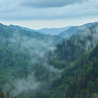 Fog beginning to form late in the evening following as a storm clears from Morton's Overlook in Smoky Mountains National Park