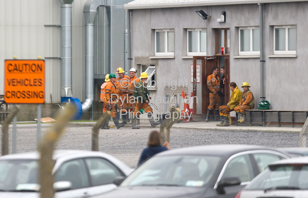26/9/2008.Miners pictured after finishing their shift at the Galmoy Mine plant in North County Kilkenny yesterday..Picture Dylan Vaughan.