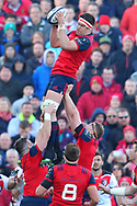 Billy Holland  of Munster at the line out during the European Rugby Champions Cup match at Thomond Park, Limerick<br /> Picture by Yannis Halas/Focus Images Ltd +353 8725 82019<br /> 01/04/2017