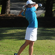 The University of North Carolina at Wilmington's  Mallory Warrick  hits a tee shot Sunday October 26, 2014 during the 13th annual Landfall Tradition in Wilmington, N.C. (Jason A. Frizzelle)