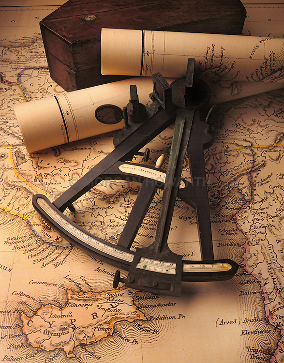 antique Octant on antique maps and charts