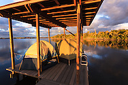 Sunrise greets boat campers who have spent the night in their tents on a chickee platform on the Wilderness Waterway in Everglades National Park, Florida.<br />