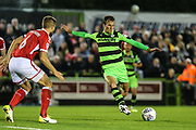 Forest Green Rovers Christian Doidge(9) shoots at goal during the EFL Sky Bet League 2 match between Forest Green Rovers and Swindon Town at the New Lawn, Forest Green, United Kingdom on 22 September 2017. Photo by Shane Healey.