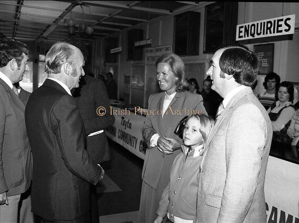 President Hillery at The Community Games..1979..15.09.1979..09.15.1979..15th September 1979..President Patrick Hillery attended the opening of The National Community Games finals at Mosney, Co Meath today. The finals were held in the grounds of The Butlins Holiday Centre and were sponsored by Tayto Irl Ltd,Greencastle Road,Coolock,Dublin..Picture shows Mr Masterson introducing Mrs Murphy, wife of the chairman,Community Games, and her daughter to President Hillery.