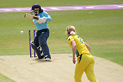 WICKET - Tammy Beaumont is bowled by Ellyse Perry during the Royal London Women's One Day International match between England Women Cricket and Australia at the Fischer County Ground, Grace Road, Leicester, United Kingdom on 2 July 2019.