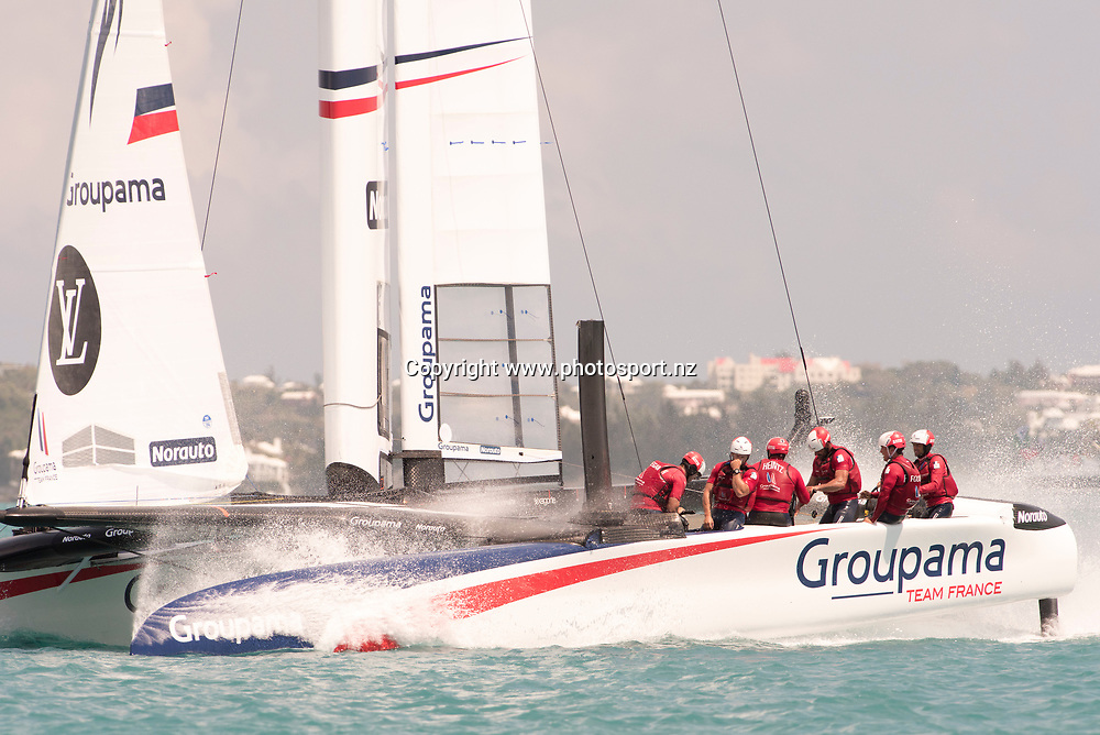 Groupama Team France after their loss to Soft Bank Team Japan in race 15. Day three of the America's Cup Qualifiers, Bermuda 29/5/2017 . Copyright Image: Chris Cameron / www.photosport.nz