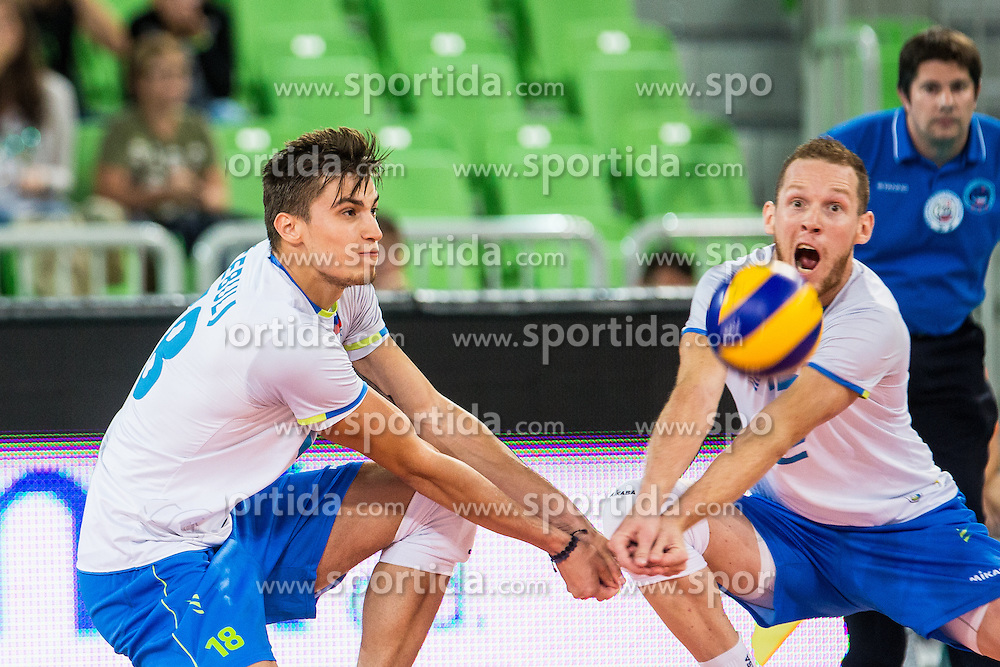 Klemen Cebulj and Tine Urnaut of Slovenia during friendly volleyball match between national teams of Slovenia and Brasil in Arena Stozice on 9. September 2015 in , Ljubljana, Slovenia. Photo by Grega Valancic / Sportida
