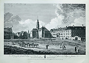 Jesuits' Church and College (now the site of the Hotel de Ville), seen from the entrance to the Seminaire de Quebec, engraving by C Grignion after a drawing by Richard Short, published in 1761 as a collection of Views of Quebec in the 18th century, by Thomas Jefferys in London, in the collection of the Musees du Quebec, Quebec City, Quebec, Canada. Picture by Manuel Cohen