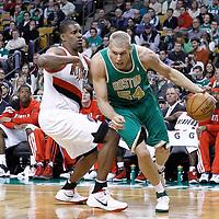 09 March 2012: Boston Celtics center Greg Stiemsma (54) drives past  Portland Trailblazers center Kurt Thomas (40) during the Boston Celtics 104-86 victory over the Portland Trail Blazers at the TD Banknorth Garden, Boston, Massachusetts, USA.