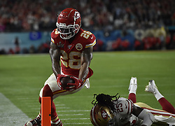 February 2, 2020, Miami Gardens, FL, USA: Kansas City Chiefs running back Damien Williams (26) scores a touchdown late in Super Bowl 54 on Sunday, Feb. 2, 2020 at Hard Rock Stadium in Miami Gardens, FL. (Credit Image: © TNS via ZUMA Wire)