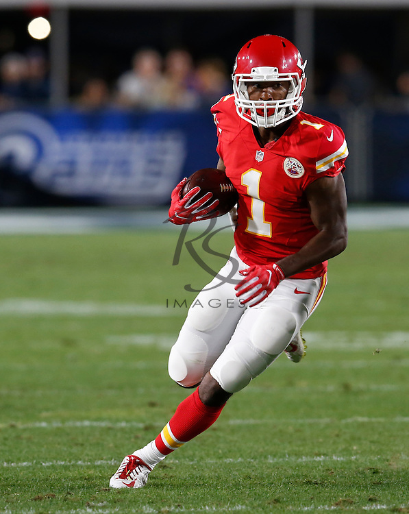 Kansas City Chiefs running back Da' Ron Brown (1) during a preseason NFL football game against the Los Angeles Rams, Saturday, Aug. 20, 2016, in Los Angeles. (AP Photo/Rick Scuteri)