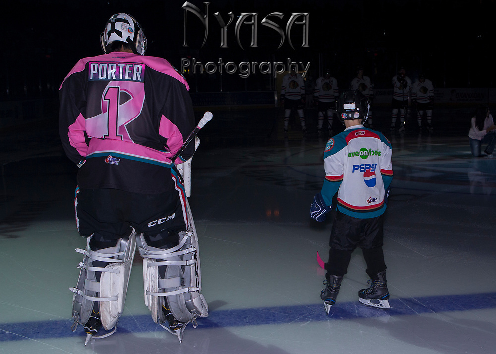 KELOWNA, CANADA - OCTOBER 21:  Pepsi Player Game with James Porter #1 of the Kelowna Rockets at the Kelowna Rockets game on October 21, 2017 at Prospera Place in Kelowna, British Columbia, Canada.  (Photo By Cindy Rogers/Nyasa Photography,  *** Local Caption ***