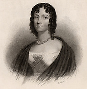 Felicia Dorothea Hemans (1793-1835), English poet. Remembered today mainly for her poem 'Casablanca' (The boy stood on the burning deck/Whence all but he had fled). At the Battle of the Nile (1798) Giocante, the 12-year old son of Luce Julien Joseph Casablanca, remained at his post on the deck of his father's burning vessel  'L'Orient', the French flagship.  He perished when the fire reached the magazine and the ship exploded. Engraving, 1836.