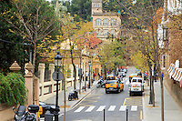 The street in front of the entrance to Park Guell in Barcelona, Spain.