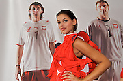 MODEL POSES WITH POSTERS OF EUZEBIUSZ EBI SMOLAREK AND ARTUR BORUC IN BACKGROUND DURING OPENING CEREMONY PUMA HOUSE IN WIEN DURING SOCCER EUROPEAN CHAMPIONSHIP EURO 2008. .WIEN , AUSTRIA , JUNE 06, 2008.( PHOTO BY ADAM NURKIEWICZ / MEDIASPORT )..PICTURE ALSO AVAIBLE IN RAW OR TIFF FORMAT ON SPECIAL REQUEST.
