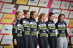 Parkhotel Valkenburg - Destil Cycling Team lines up on the podium before the prologue of the Lotto Thuringen Ladies Tour - a 6.1 km individual time trial, starting and finishing in Gera on July 12, 2017, in Thuringen, Germany. (Photo by Balint Hamvas/Velofocus.com)