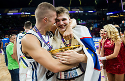 Edo Muric of Slovenia and Luka Doncic of Slovenia celebrating at Trophy ceremony after winning during the Final basketball match between National Teams  Slovenia and Serbia at Day 18 of the FIBA EuroBasket 2017 when Slovenia became European Champions 2017, at Sinan Erdem Dome in Istanbul, Turkey on September 17, 2017. Photo by Vid Ponikvar / Sportida
