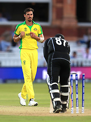 New Zealand's Lockie Ferguson is bowled out by Australia's Mitchell Starc (left) during the ICC Cricket World Cup group stage match at Lord's, London.