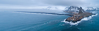 Hvalnes aerial drone panorama shot. East Iceland.