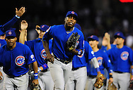 Apr. 29 2011; Phoenix, AZ, USA; Chicago Cubs outfielder Alfonso Soriano(12) reacts after defeating the Diamondbacks 4-2 at Chase Field. Mandatory Credit: Jennifer Stewart-US PRESSWIRE..