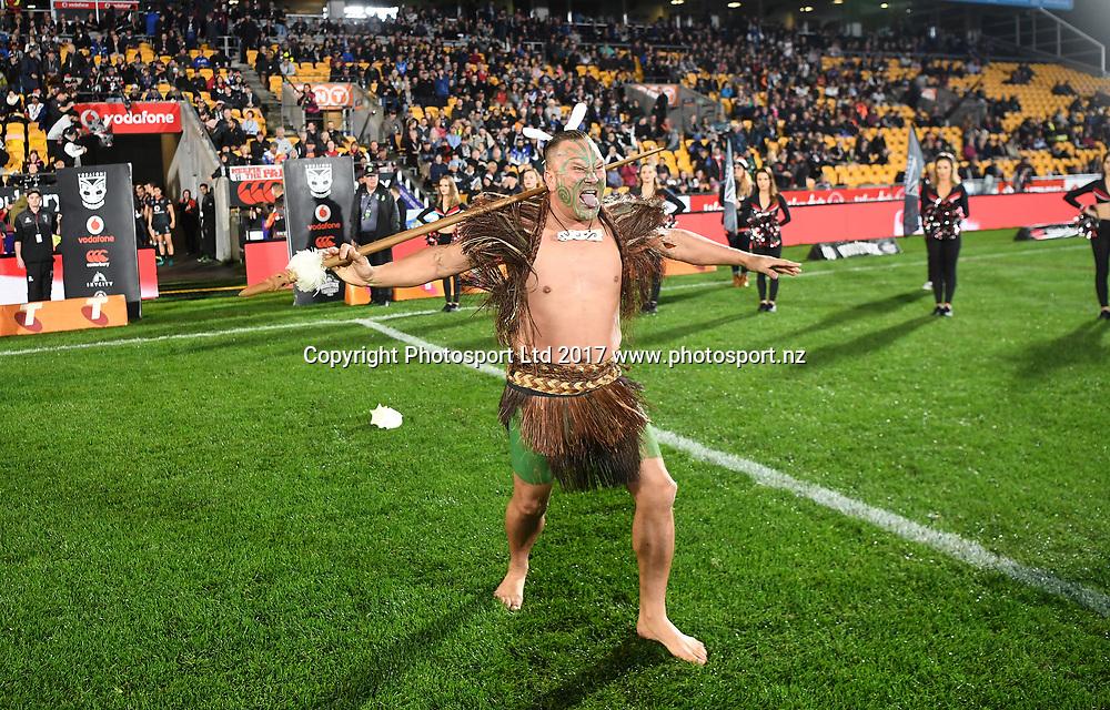 Maori Warrior before kick off.<br /> Vodafone Warriors v  Canterbury Bulldogs. NRL Rugby League. Mt Smart Stadium, Auckland, New Zealand. Friday 23 June 2017 &copy; Copyright Photo: Andrew Cornaga / www.Photosport.nz
