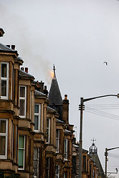 Emergency services at the scene of a fire on Kenmure Street, Glasgow on the evening of the 1st April, 2020.