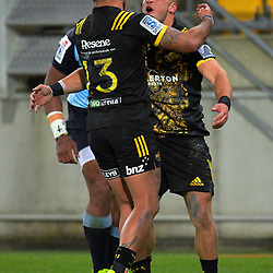 Wes Goosen celebrates a try during the Super Rugby match between the Hurricanes and Waratahs at Westpac Stadium in Wellington, New Zealand on Saturday, 7 April 2017. Photo: Dave Lintott / lintottphoto.co.nz