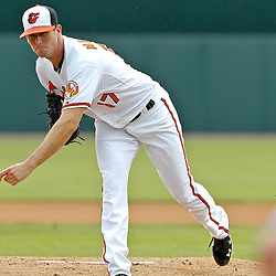 March 20, 2012; Sarasota, FL, USA; Baltimore Orioles starting pitcher Brian Matusz (17) throws against the Philadelphia Phillies during a spring training game at Ed Smith Stadium.  Mandatory Credit: Derick E. Hingle-US PRESSWIRE