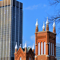 Catholic Shrine of the Immaculate Conception in Atlanta, Georgia<br /> Missionary priests began celebrating mass for railroad workers during the early 1840s. Atlanta&rsquo;s first Catholic church opened in 1848. The humble wooden structure was spared from the burning of Atlanta in 1864 by General Sherman&rsquo;s soldiers. The reason: Father O&rsquo;Reilly had provided medical help to both Union and Confederate troops. After the Civil War, work began on the church&rsquo;s replacement. The current Catholic Shrine of the Immaculate Conception opened in 1873 based on the Gothic Revival design by Willian Parkins. It is the second oldest building in the city.