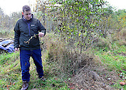 © Licensed to London News Pictures. 07/11/2012. LAWSHALL, UK Nick Dickson, Environmental Education Leader at the Green Light Trust inspects his ruined trees.  Trees at an infected site in East Anglia today, 7th November 2012. UK ash trees are threatened by the spread of Chalara disease, more commonly known as Ash Dieback. The Green Light Trust, an environmental charity near Bury St Edmunds has found its stock of Ash trees decimated with the disease. The community managed woodland has set up an appeal to help find a long term solution to the disease.  Photo credit : Stephen Simpson/LNP