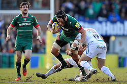 Sebastian de Chaves of Leicester Tigers is tackled - Photo mandatory by-line: Patrick Khachfe/JMP - Mobile: 07966 386802 28/03/2015 - SPORT - RUGBY UNION - Leicester - Welford Road - Leicester Tigers v Exeter Chiefs - Aviva Premiership