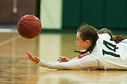 Rice's Lisa Sulejmani (14) battles for the loose ball during the girls basketball game between Brattelboro and Rice at Rice Memorial High School on Tuesday night January 10, 2017 in South Burlington. (BRIAN JENKINS/for the FREE PRESS)