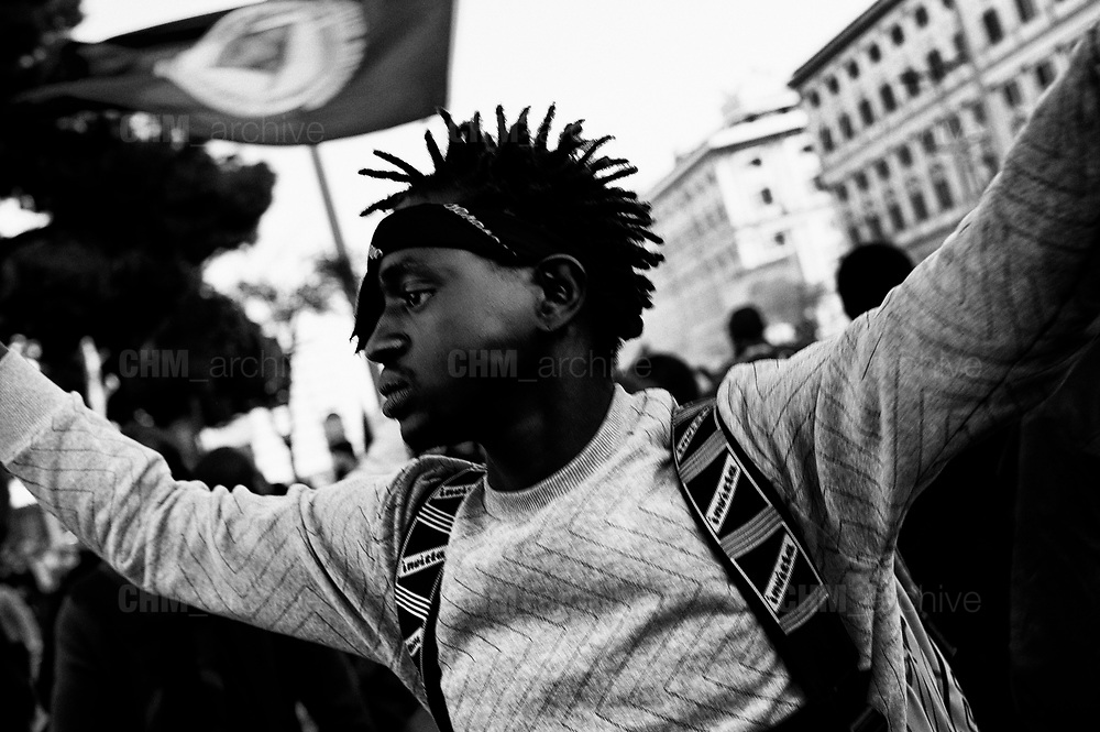 National demonstration under the slogan 'United and in solidarity against the Government, racism and the Salvini Decree' on November 10, 2018 in Rome, Italy. The Security Decree Bill 'Decreto Sicurezza' tightening immigration policy presented by League leader and Deputy Prime Minister Matteo Salvini was passed in the senate earlier this week. Rome 10 november 2018. Christian Mantuano / OneShot