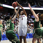 Morgan Tuck, UConn, shoots for two past Alisia Jenkins, (left) and Laura Ferreira, USF, during the UConn Huskies Vs USF  2016 American Athletic Conference Championships Final. Mohegan Sun Arena, Uncasville, Connecticut, USA. 7th March 2016. Photo Tim Clayton