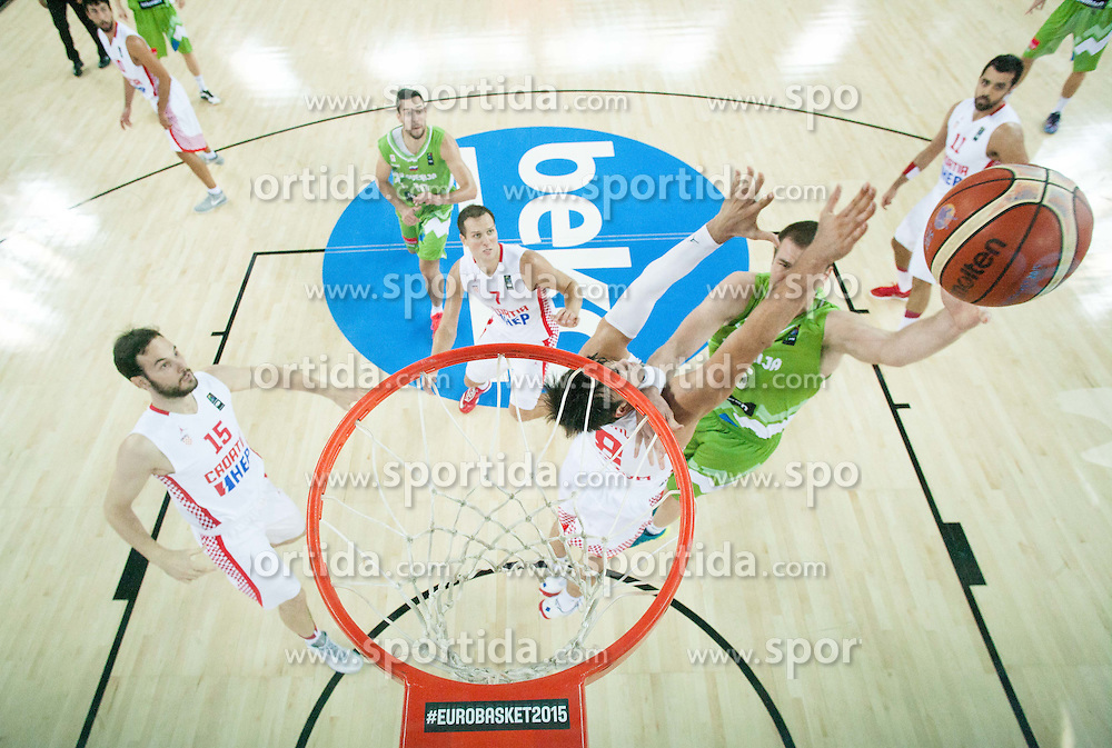 Uros Slokar of Slovenia vs Dario Saric of Croatia during basketball match between Croatia and Slovenia at Day 1 in Group C of FIBA Europe Eurobasket 2015, on September 5, 2015, in Arena Zagreb, Croatia. Photo by Vid Ponikvar / Sportida