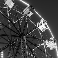 Newport Beach Ferris Wheel black and white photo at night. The Balboa Fun Zone Ferris Wheel is a popular attraction in Orange County  Southern California. Photo is high resolution. Copyright ⓒ 2017 Paul Velgos with All Rights Reserved.