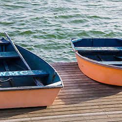 Skiffs on the dock in Wellfleet Harbor in  Wellfleet, Massachusetts. Cape Cod.