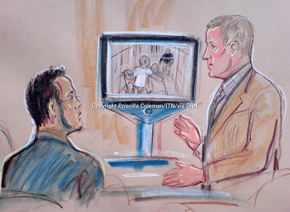 ©Priscilla Coleman ITV News.Supplied by: Photonews Service Ltd Old Bailey.Pic shows:Artist impression of fireman, Angus Campbell witness in the 21/7 bomb trial.Illustration: Priscilla Coleman ITV News
