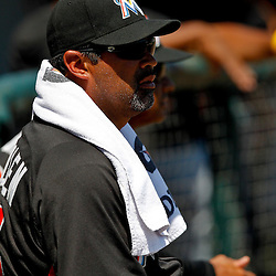 March 26, 2012; Lakeland, FL, USA; Miami Marlins manager Ozzie Guillen (13) before a spring training game against the Detroit Tigers at Joker Marchant Stadium. Mandatory Credit: Derick E. Hingle-US PRESSWIRE