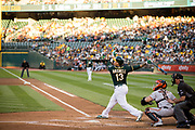 Oakland Athletics catcher Bruce Maxwell (13) watches the ball during an at bat against the San Francisco Giants at Oakland Coliseum in Oakland, California, on July 31, 2017. (Stan Olszewski/Special to S.F. Examiner)